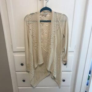 NWOT Knox Rose Large Cream Cardigan with Lace